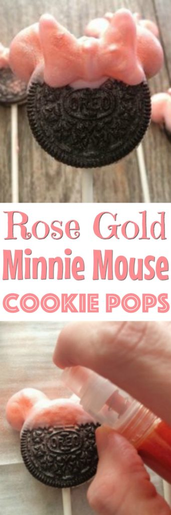 Cookie on a stick with pink Minnie Mouse Ears