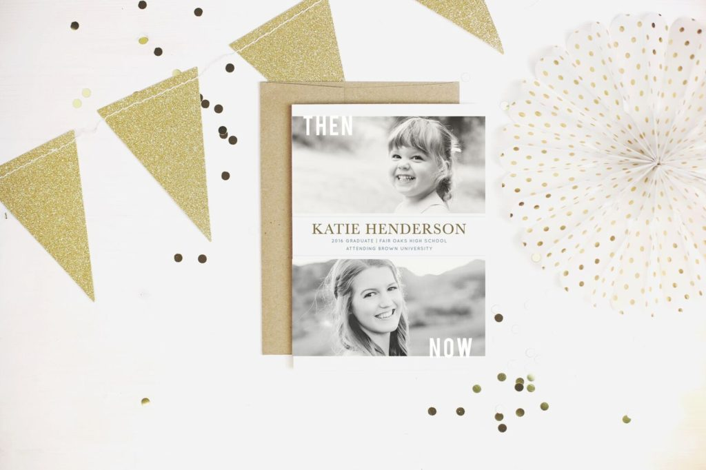 Gold flags with a black, white, and gold graduation announcement