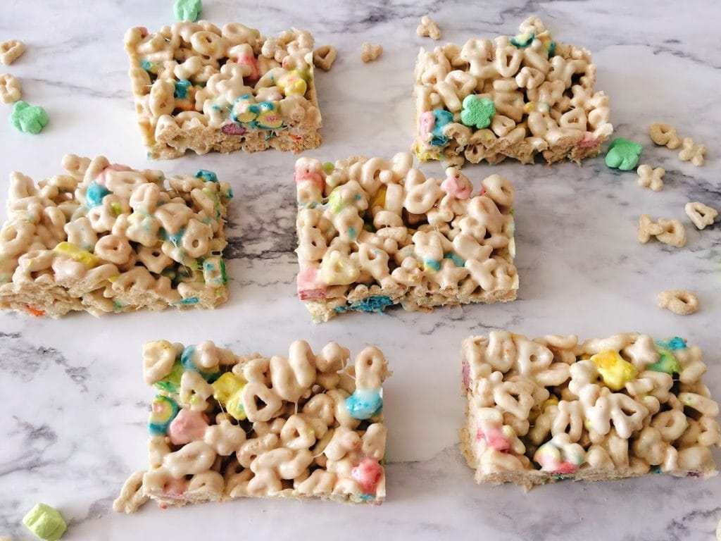 Leprechaun Rice Krispie Treats Cut into Squares
