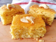 Cornbread topped with a dollop of butter