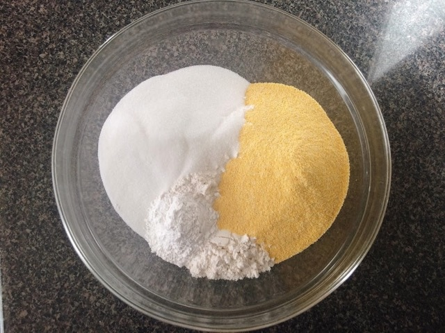 Dry ingredients for moist cornbread in a bowl