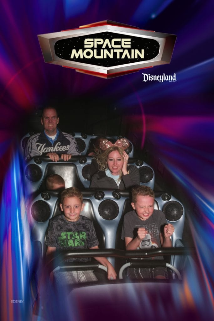 A family riding Space Mountain at Disneyland