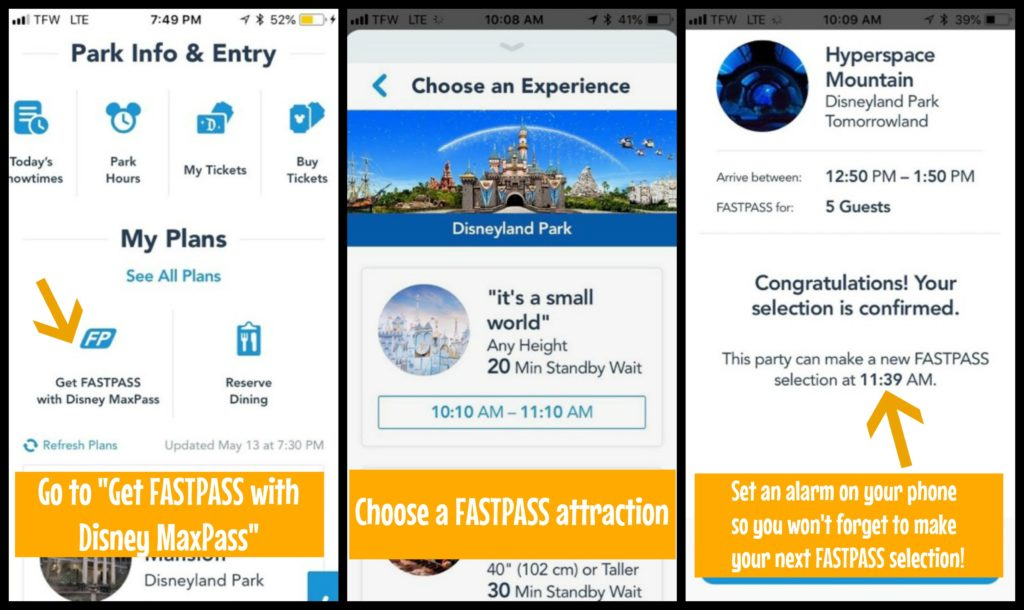 Screenshots of the Disneyland app showing you how to make a FASTPASS reservation using Max Pass
