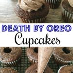 "Text ""Death by OREO Cupcakes"" with a picture of an Oreo cupcake with Mickey Mouse ears and cupcakes being filled with Oreo cheesecake filling."