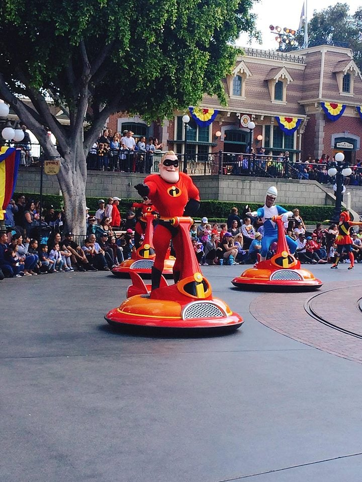 The Incredibles on Main Street at Disneyland during Pixar Fest Parade