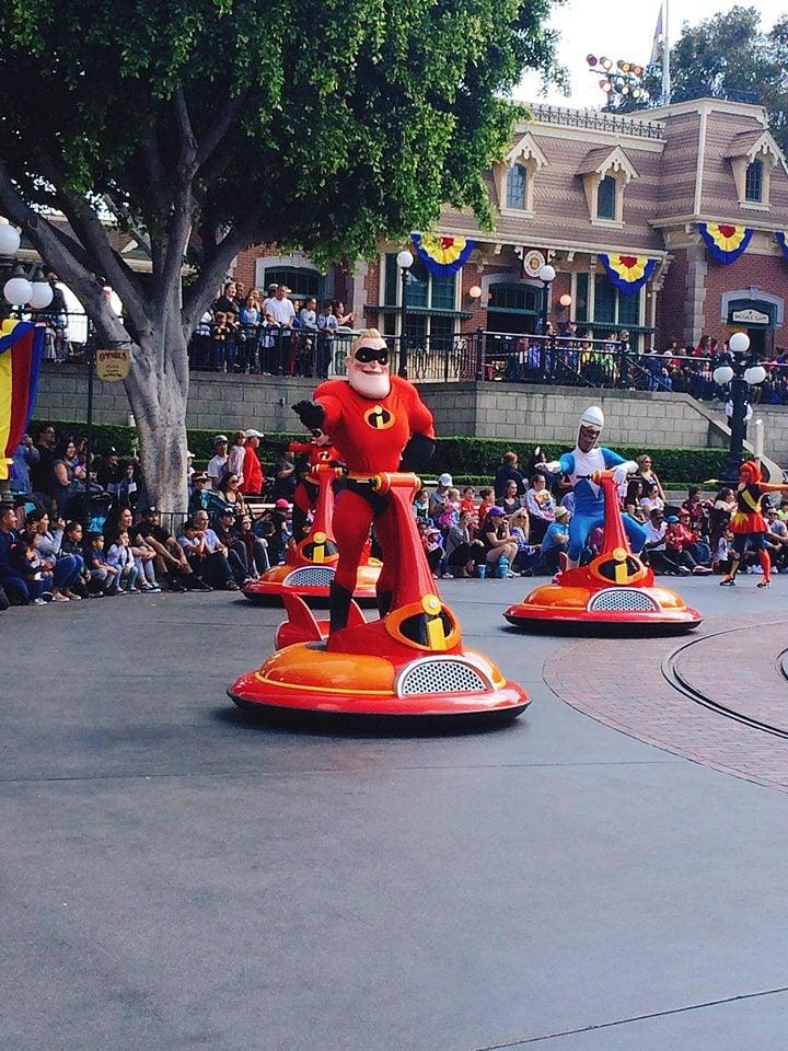 The Incredibles on Main Street at Disneyland during Pixar Fest Parade