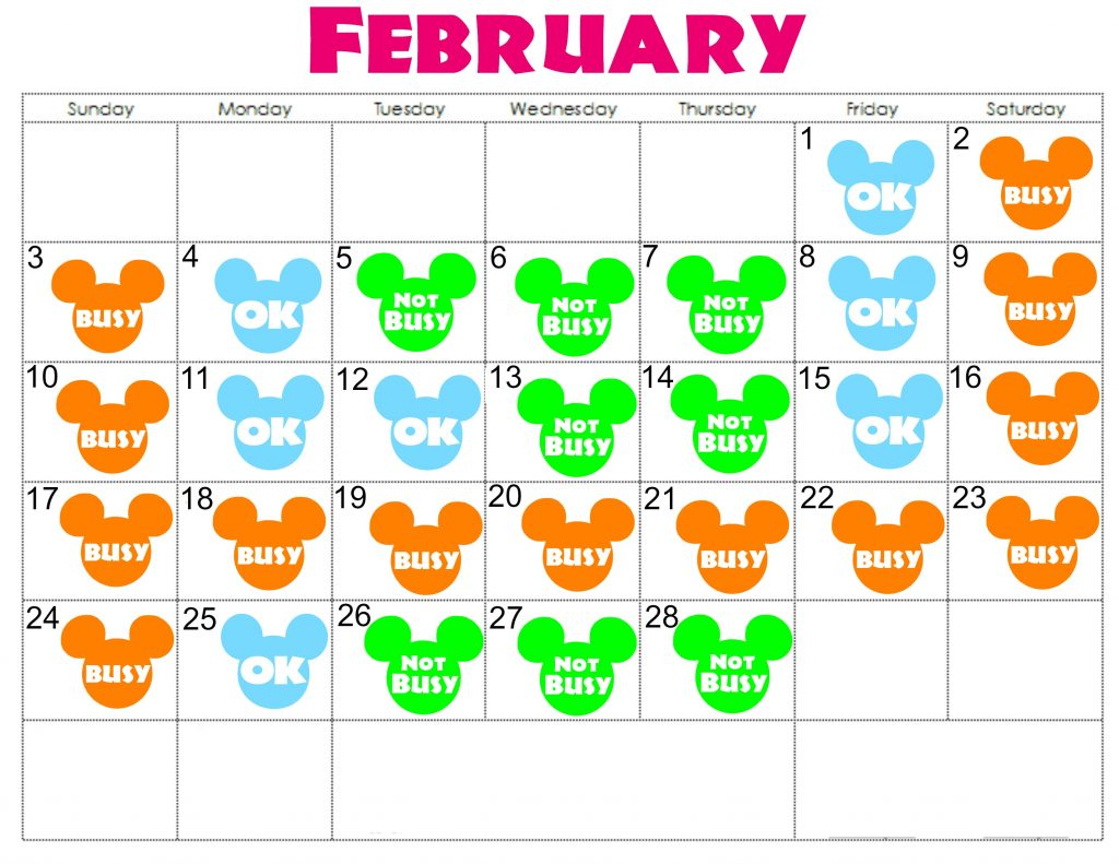 A February Calendar with colorful Mickey Mouse Heads to represent how crowded Disneyland is each day.