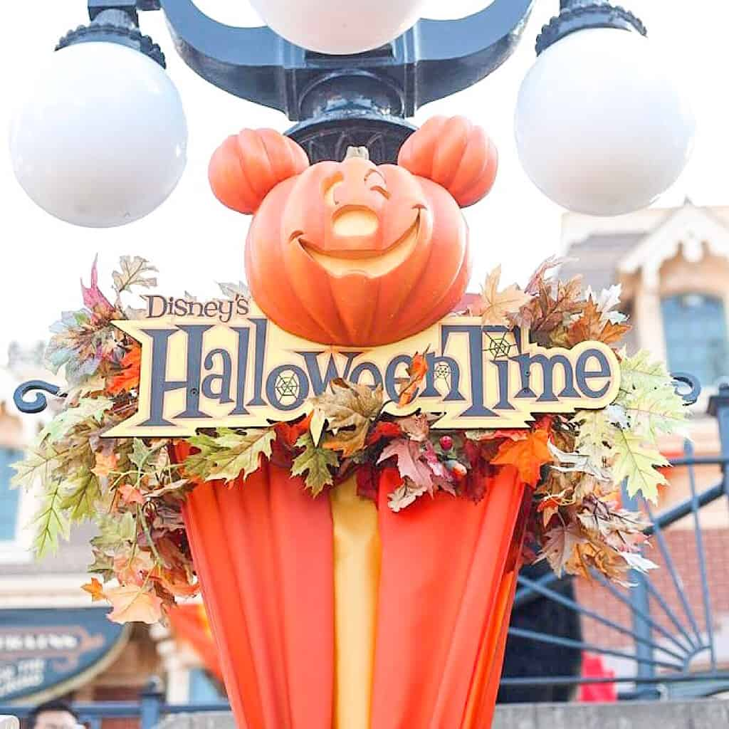Disneyland Halloween Time Sign and Mickey Mouse shaped pumpkin