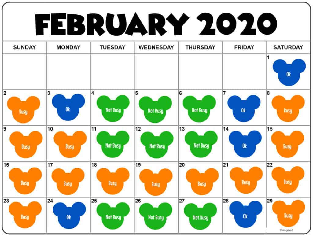 February 2020 Disneyland Crowd Calendar