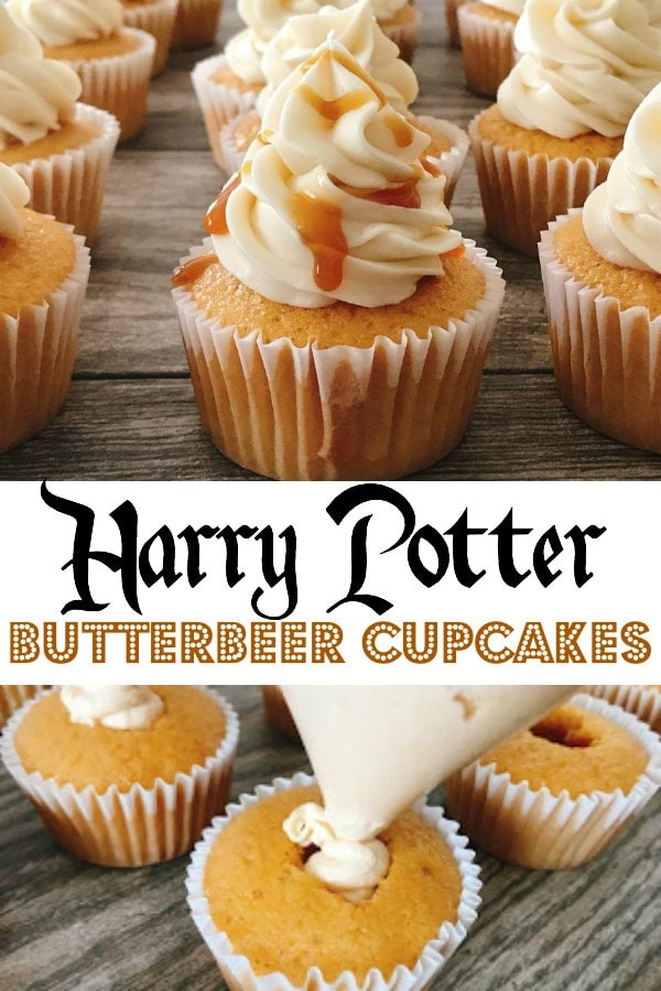 "Cupcakes drizzled with caramel sauce, text ""Harry Potter Butterbeer Cupcakes"", cream being piped into the middle of a cupcake."