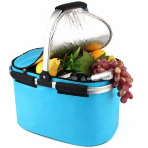 Every Sports Mom needs a light blue insulated picnic basket with fruit spilling out