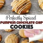 """Soft Pumpkin Chocolate Chip Cookies drizzled with white chocolate, text """"PerfectlySpiced Pumpkin Chocolate Chip Cookies"""""""