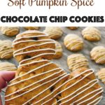 """Text, """"Mickey Mouse Soft Pumpkin Spice Chocolate Chip Cookies"""" a hand holding a Mickey Mouse-shaped cookie drizzled with white chocolate."""