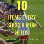 "A kids soccer team giving high fives, text ""10 items every soccer mom needs"""