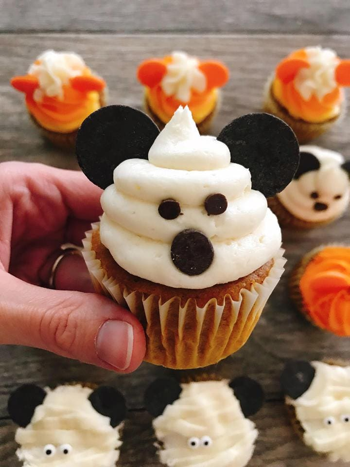 A close up of a Mickey Mouse Ghost Halloween Cupcakes.