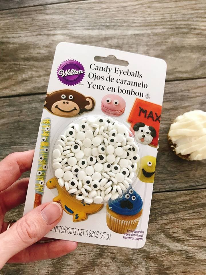 A package of Wilton candy eyes to make Halloween Cupcakes..