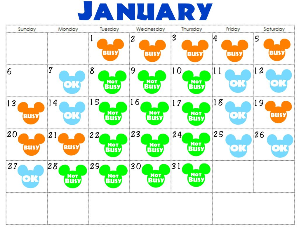 A January Disneyland Crowd Calendar with colorful Mickey Mouse Heads for each day.
