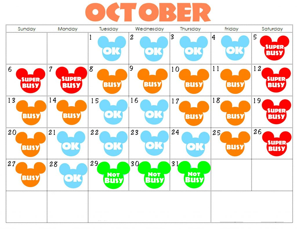 An October Disneyland Crowd Calendar with colorful Mickey Mouse Heads for each day.