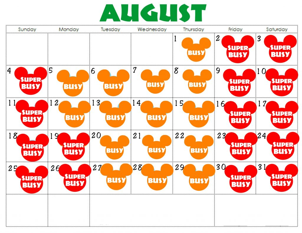 An August Disneyland Crowd Calendar with colorful Mickey Mouse Heads for each day.