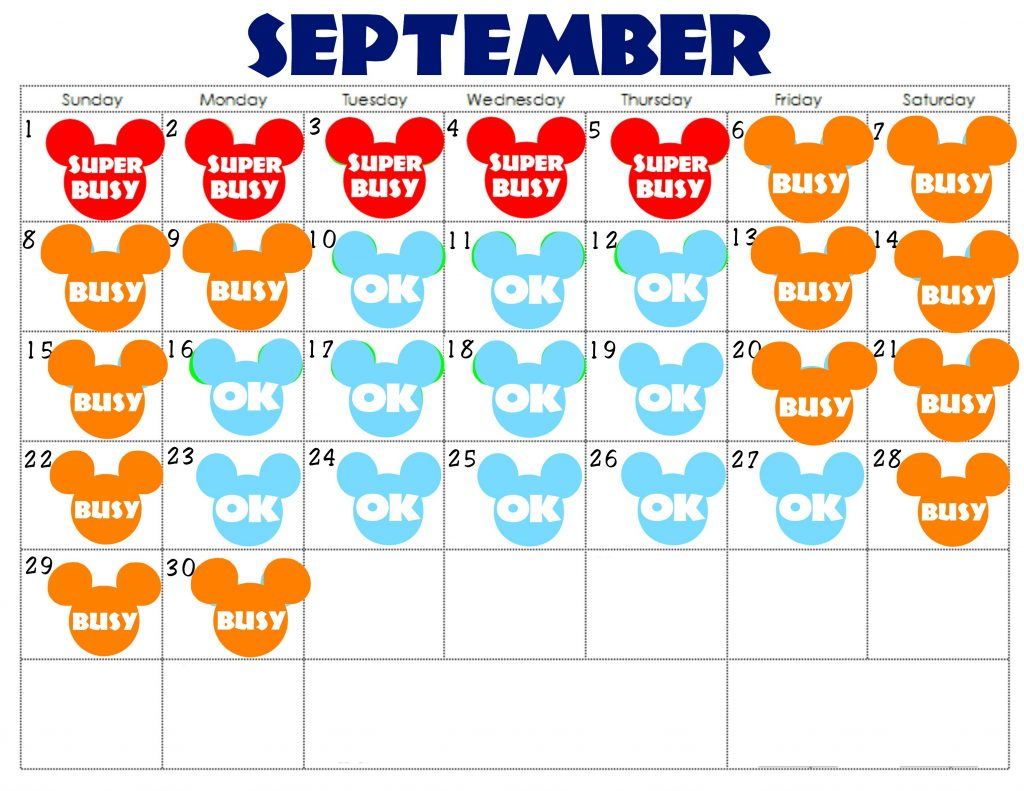 A September Disneyland Crowd Calendar with colorful Mickey Mouse Heads for each day.
