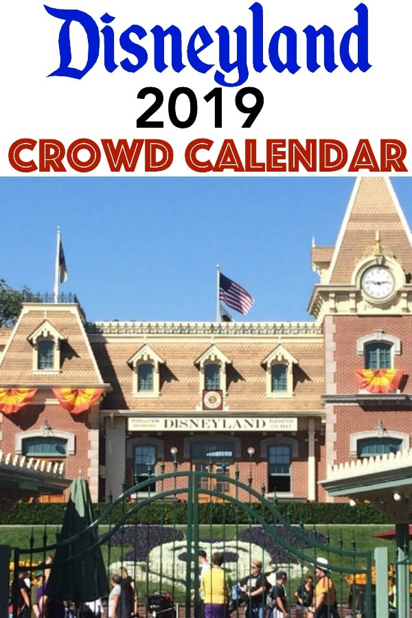 "Text ""Disneyland 2019 Crowd Calendar"" a picture of the train station at Disneyland."