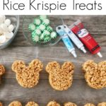 """Text """"Gingerbread Rice Krispie Treats"""" a picture of Mickey Mouse shaped Rice Krispie Treats with Decorating ingredients."""