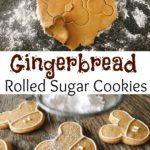 "Gingerbread Sugar Cookies dough cut into Mickey Mouse shapes, text ""Gingerbread Rolled Sugar Cookies"", cookies being dusted with powdered sugar."