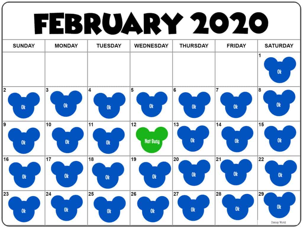 Disney World Crowd Calendar February 2020