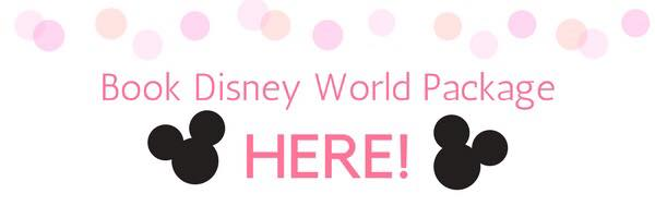 Polka dot banner with Mickey Mouse heads and text, Book Disney World Package Here!