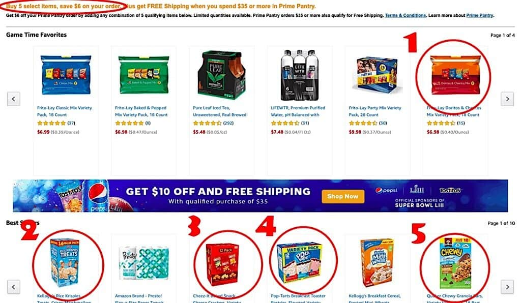 Screenshot of Amazon Prime Pantry