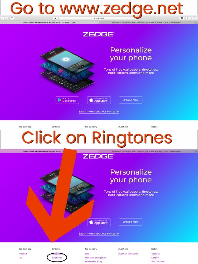 """A screenshot of www.zedge.net that with the words """"Go to www.zedge.net"""" and """"Click on Ringtones"""" with a big red arrow."""