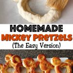 "A pastry brush on a Mickey Pretzel, text ""Homemade Mickey Pretzels (The Easy Version)"", a row of Mickey Pretzels on a plate."