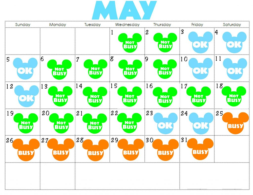 A colorful Disney World Crowd Calendar for May