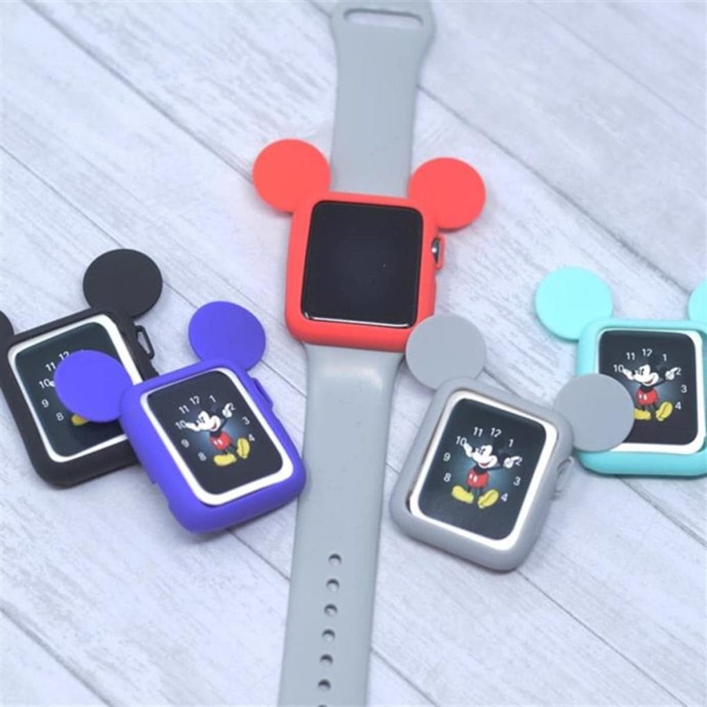 An Apple Watch with Mickey Mouse shaped cases.