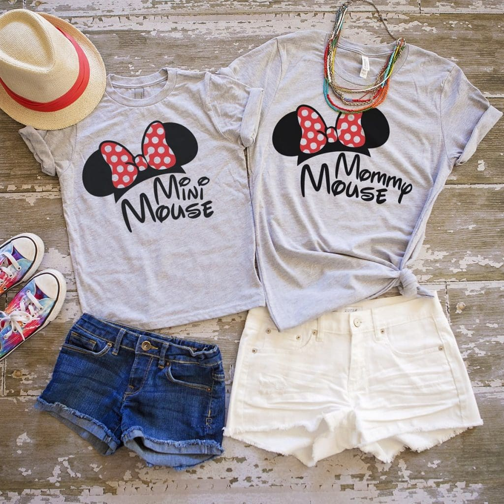 "Cute mom and daughter Disney Shirts that say ""Mini Mouse"" and ""Mommy Mouse"""