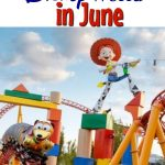 """Text """"Tips & Tricks for Disney World in June"""" a picture of a rollercoaster from Toy Story Land"""