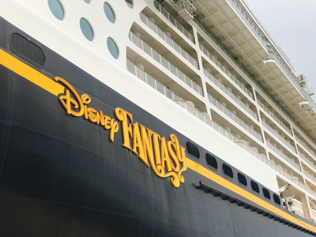 Side view of the Disney Fantasy ship from the Disney Cruise Line.