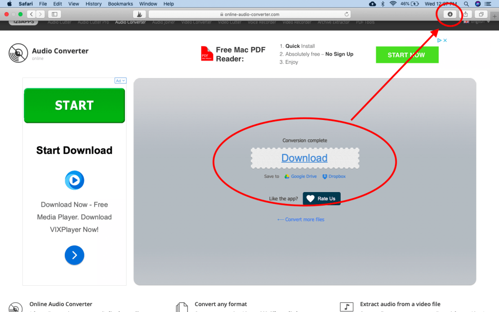 A screenshot of a website that helps you convert mp3 files.