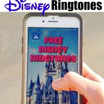 """Text """"Free Disney Ringtones"""" and a picture of a hand holding an iPhone."""