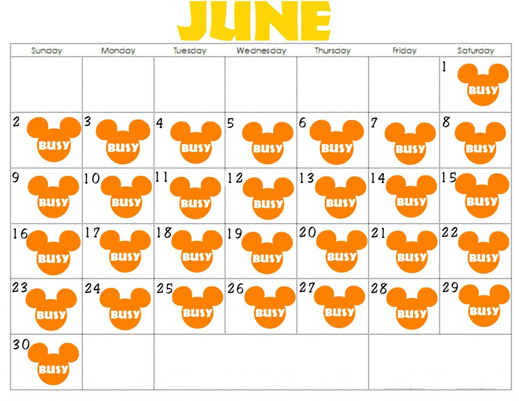 "A calendar for June 2019 with orange Mickey Mouse Heads that say ""Busy"""