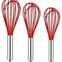 TEEVEA (Upgraded) 3 Pack Very Sturdy Kitchen Whisk Silicone Balloon Wire Whisk Set Egg Beater Milk Frother Kitchen Utensils Gadgets for Blending Whisking Beating Stirring Red