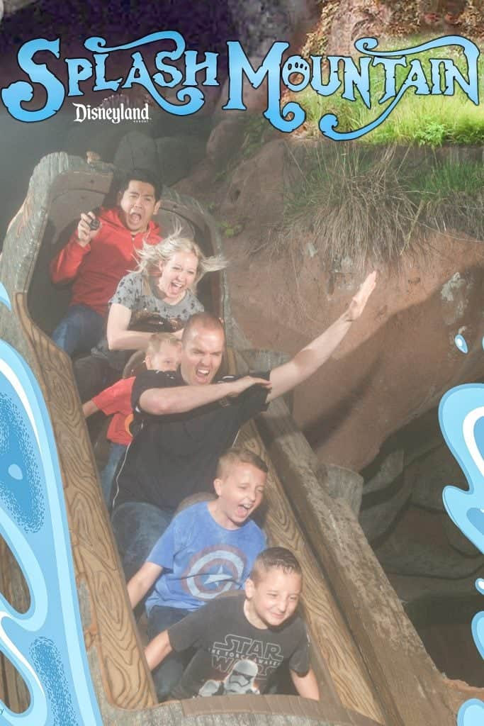 A family riding in a log on Splash Mountain at Disneyland