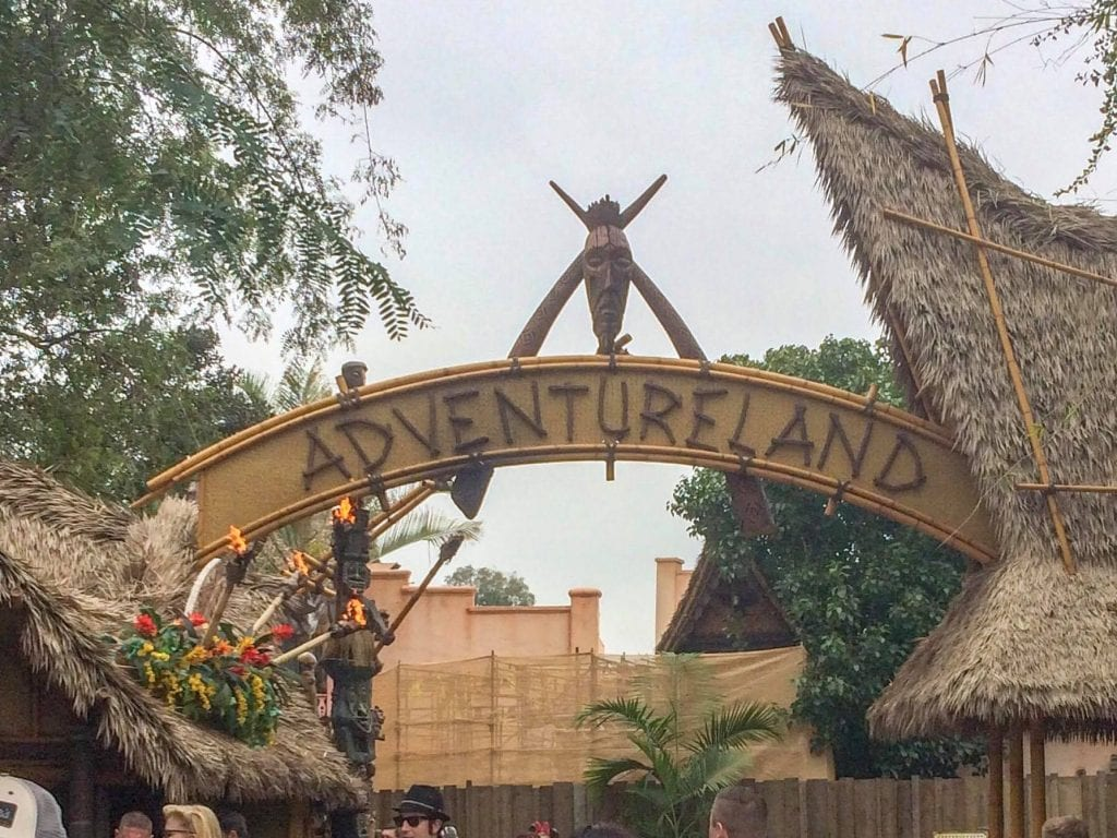 Then entrance sign of Adventureland at Disneyland.