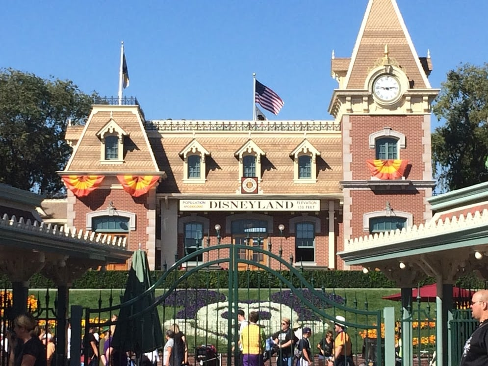 The entrance gate and train station at Disneyland.