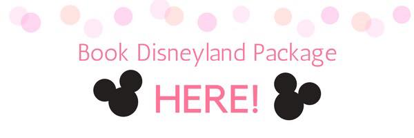 "A banner with pink polka dots, black Mickey Mouse heads, and text ""Book Disneyland Package Here!"""
