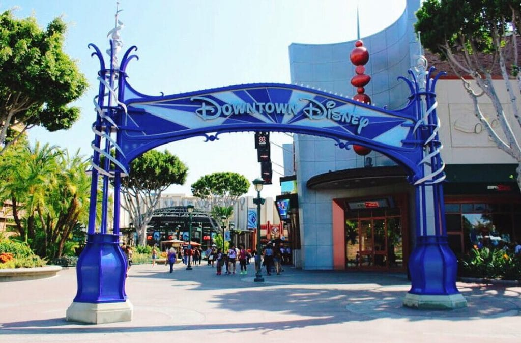 A picture of the sign at the entrance of Downtown Disney at Disneyland in California.