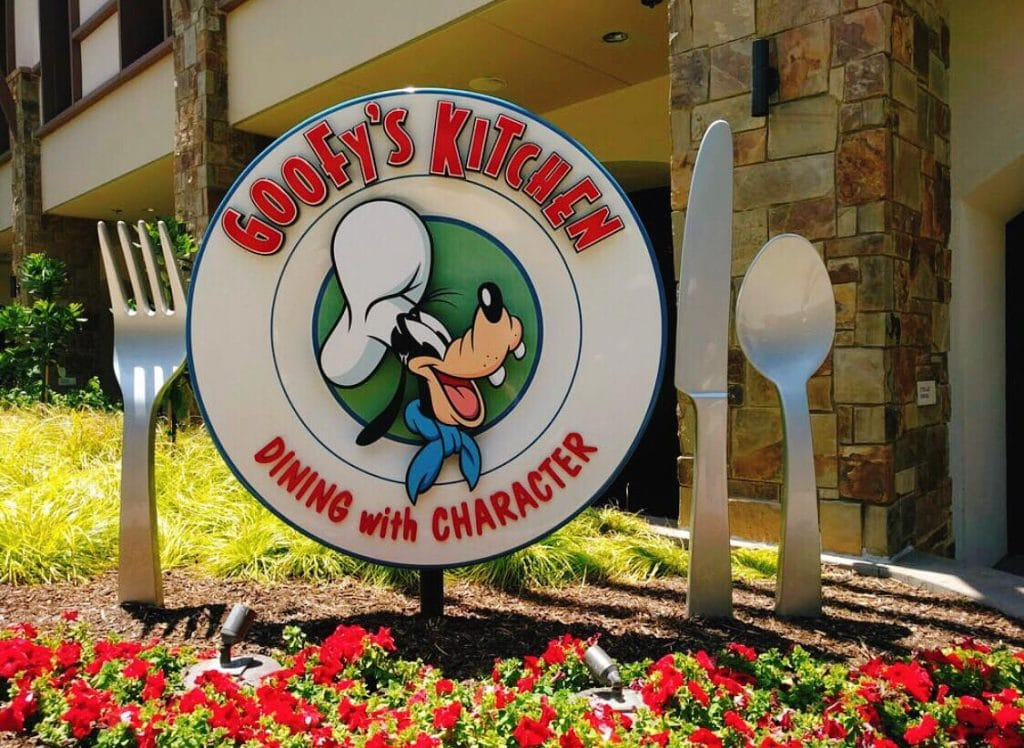 A picture of the sign for Goofy's Kitchen at the Disneyland Hotel.