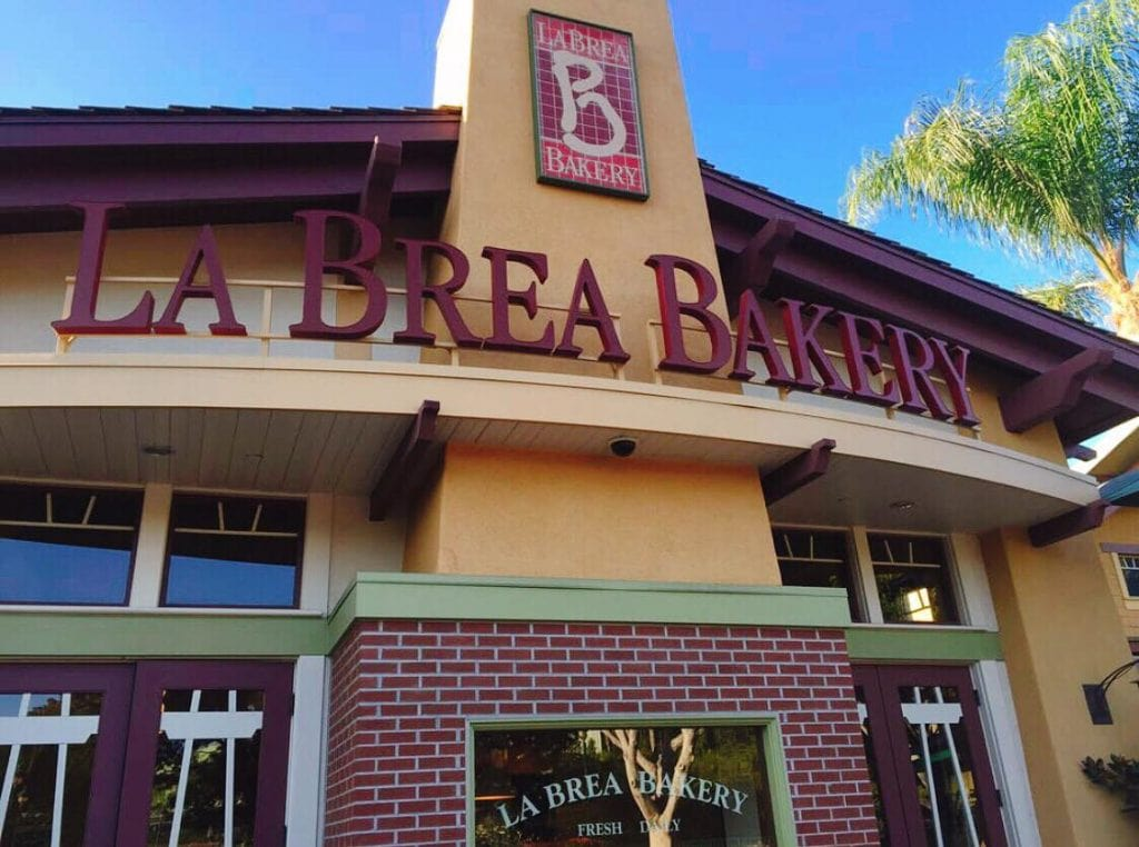 The entrance of La Brea Bakery Cafe at Downtown Disney in Disneyland California.