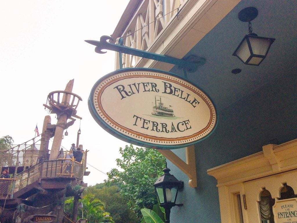 A picture of the River Belle Terrace sign where you can get Breakfast at Disneyland.