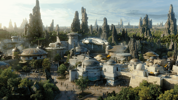 An artists rendering of Star Wars: Galaxy's Edge the new Star Wars Land at Disneyland and Walt Disney World.